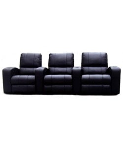 Black Leather 3-seat Recliner Home Theater Seating | Overstock.