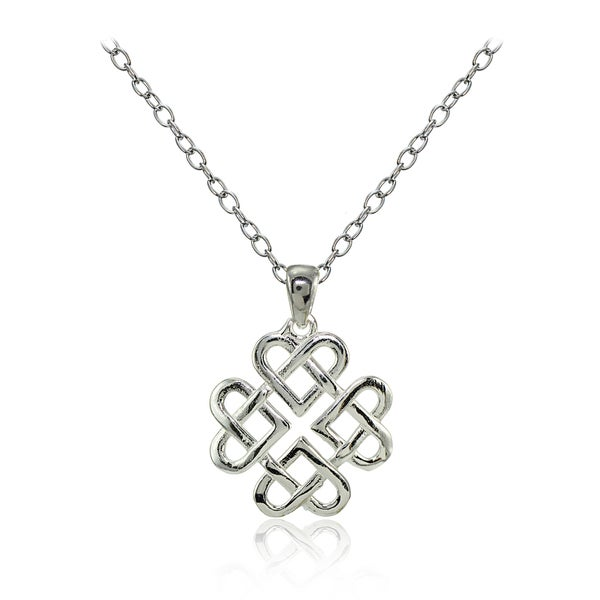 Mondevio Sterling Silver High Polished Celtic Love Knot Necklace 25276263