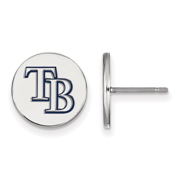 Sterling Silver Tampa Bay Rays Small Enamel Disc Earring 25276754