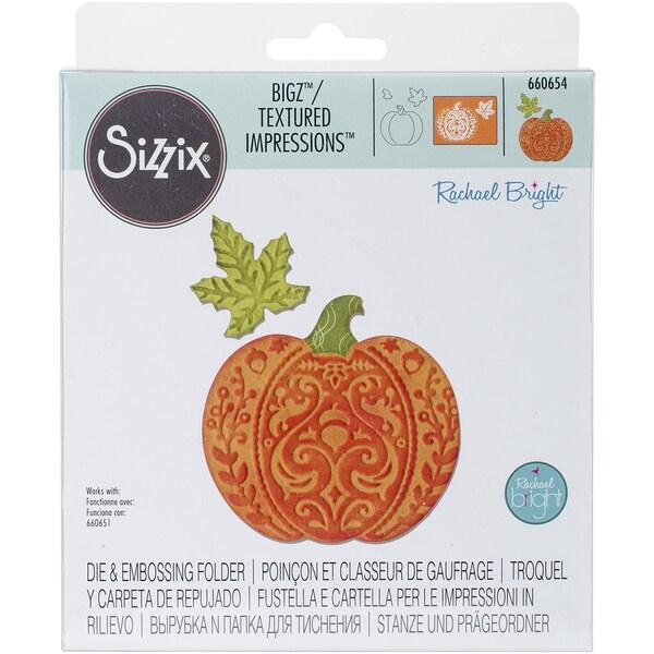 """Sizzix Bigz Die W/Bonus Textured Impressions 5.5""""X6""""-Harvest Pumpkin 25277422"""