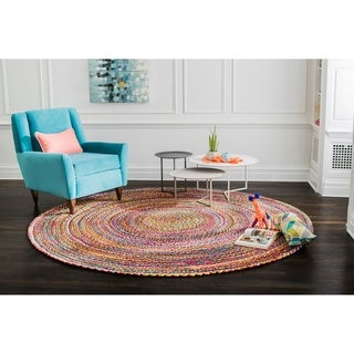 Jani Lita Multicolored Upcycled Cotton Round Handmade Braided Rug - Multi - 8' Round