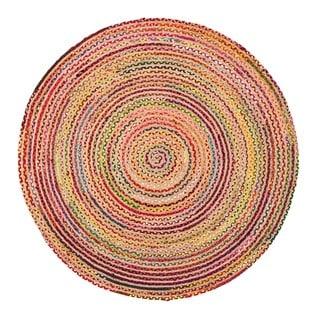 Jani Rita Natural/Multi Upcycled Cotton and Jute Round Rug - 4' Round
