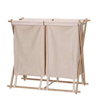 Collapsible Wood X-Frame Double Laundry Hamper Sorter