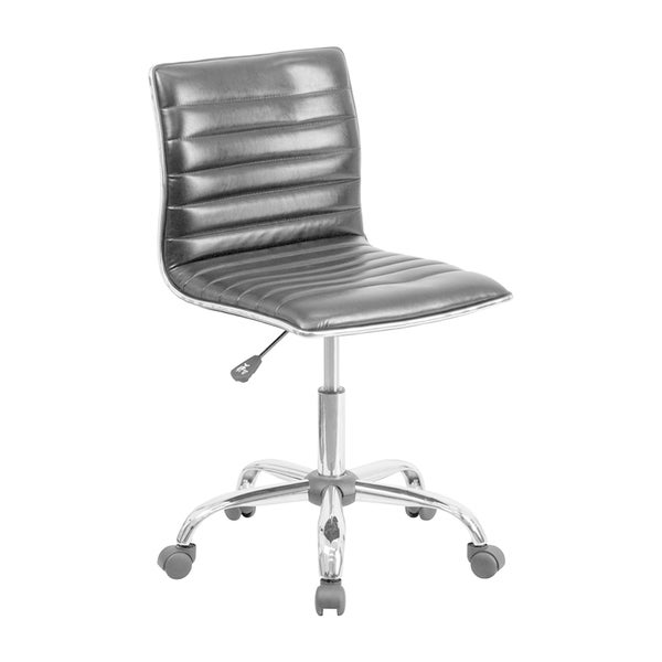 Offex Black Leather Mid-Back Armless Ribbed Designer Task Chair 25307591