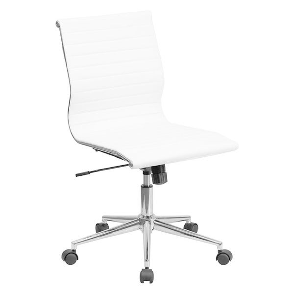 Offex Mid-Back Armless White Ribbed Upholstered Leather Conference Chair 25307600