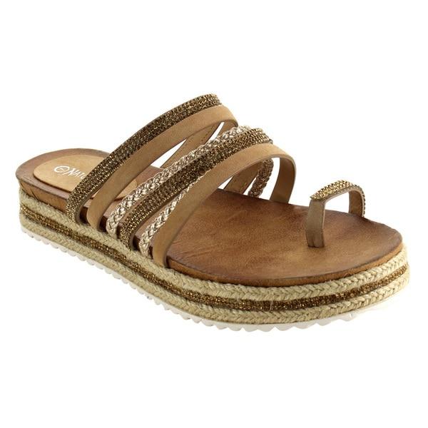 Nature Breeze FJ09 Women's Strappy Flatform Espadrilles Thong Slide Sandals 25330622