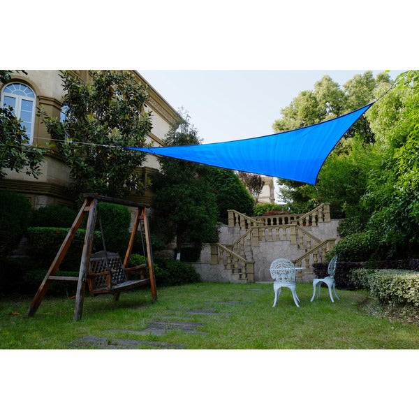 Cool Area Triangle 11 Feet 5 Inches Sun Shade Sail, UV Block Fabric Sail Perfect for Outdoor Patio Gardenin Color Blue 25360376