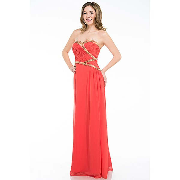 DFI Women's Strapless Prom Dress