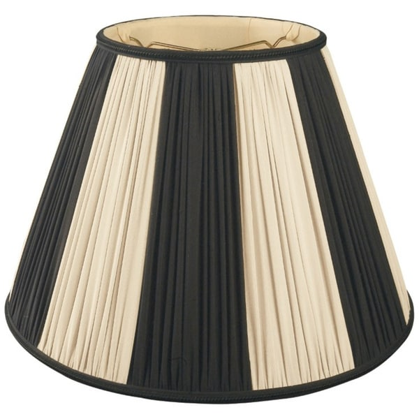 Royal Designs Beige & Black Pleated Round Designer Lamp Shade, Beige/Black, 9 x 18 x 13 25364057