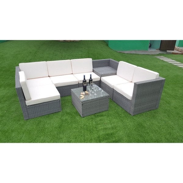 Mcombo 8pcs Grey Wicker Patio Sectional Sofa Furniture Set Sofa