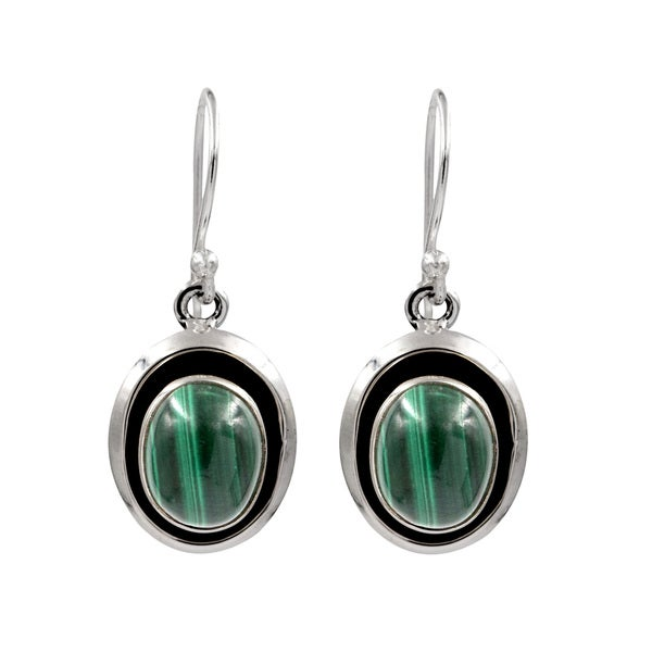 Sterling Silver Oval Malachite Drop Earring 25384513