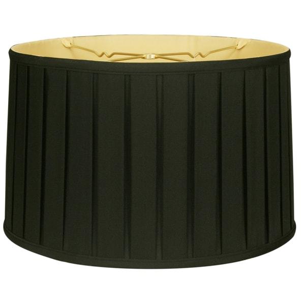 Royal Designs Shallow Drum English Box Pleat Basic Lamp Shade, Black, 17 x 18 x 11.5, 6-way 25386436