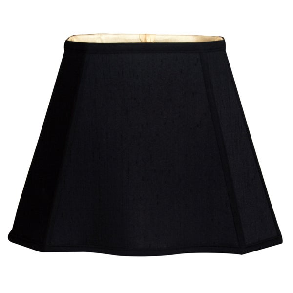 Royal Designs Fancy Bottom Rectangle Basic Lamp Shade, Black/Gold 7 x 10 x 12.25 x 18 x 13.25 25386463