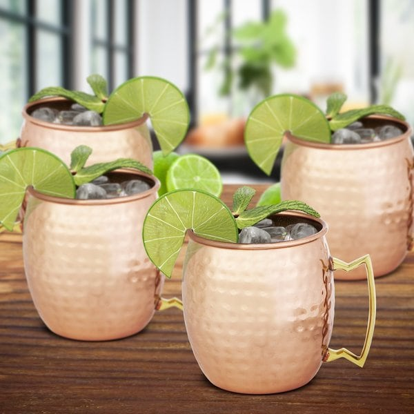 Chef's Star Set of 4 Handmade Hammered Copper Moscow Mule Mug 25386824