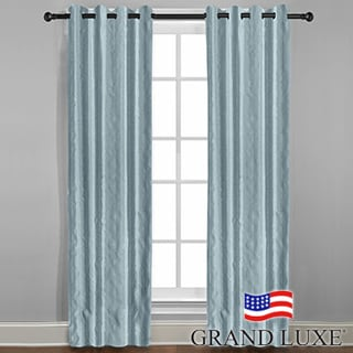 Grand Luxe Mineral Blue Braxton Grommet Curtain Panel