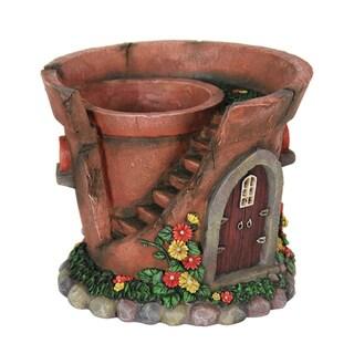Exhart 7.5-inch Solar Powered Fairy House Flower Pot