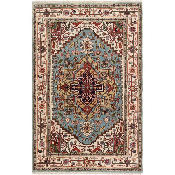 eCarpetGallery Serapi Heritage Blue/Ivory Wool Hand-knotted Area Rug (5'9 x 8'9) 25399790