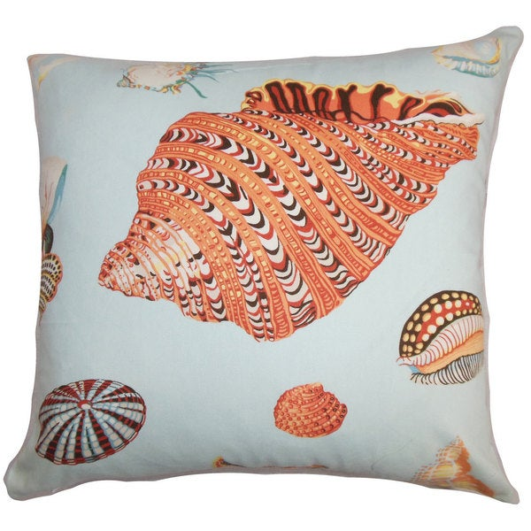 "Rayen Coastal 24"" x 24"" Down Feather Throw Pillow Orange Blue 25402729"
