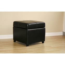 Black Bi-cast Leather Storage Ottoman