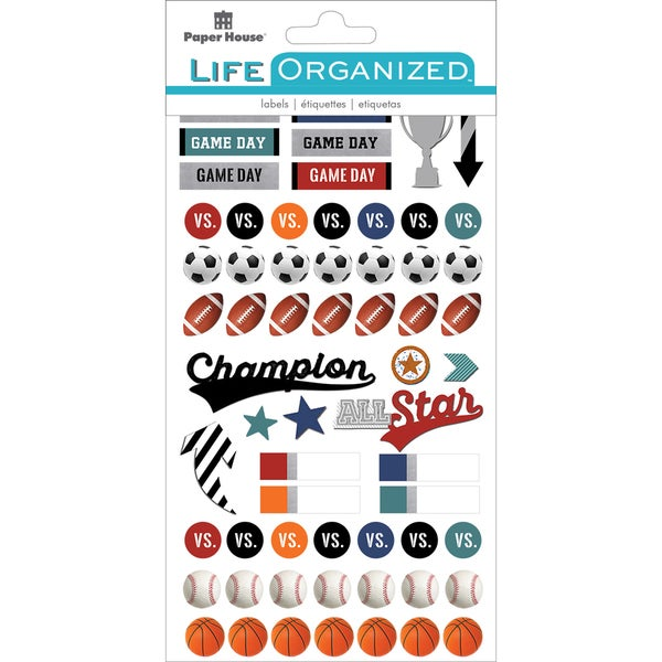 """Paper House Life Organized Planner Stickers 4.5""""X7.5"""" 4/Pkg-Sports 25407226"""