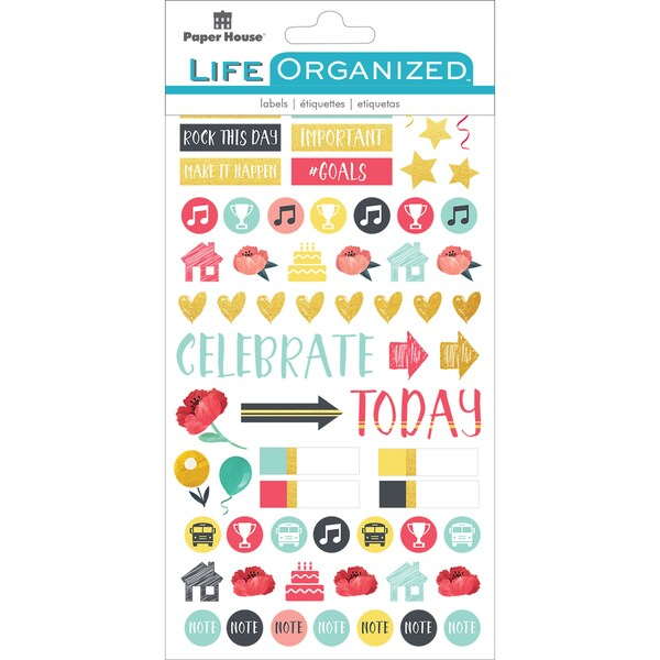 """Paper House Life Organized Planner Stickers 4.5""""X7.5"""" 4/Pkg-Family 25407318"""