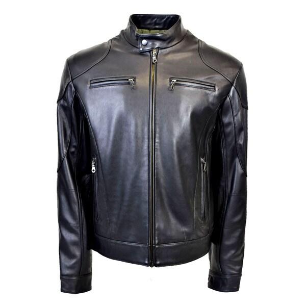 Men's Leather Standing Collar Racing Jacket 25419033