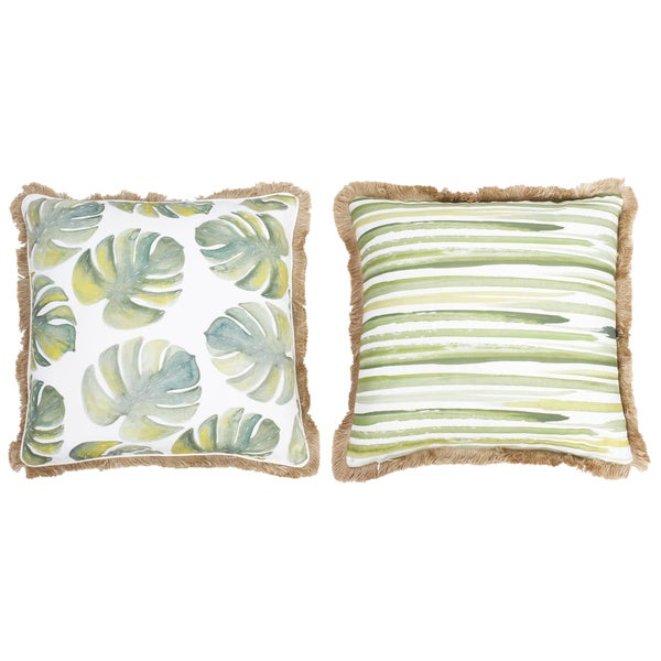 Thro Frances Watercolor Blue and Green Beaded Pillow 25428502