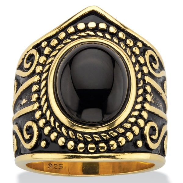 Oval-Cut Simulated Black Onyx Cabochon Boho Beaded Cocktail Ring in Antiqued 18k Yellow Gold over St Color Fun 25432989