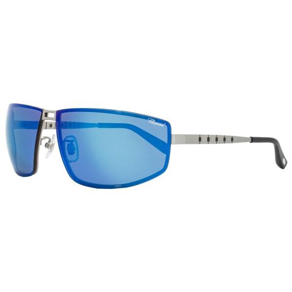 Chopard SCHB02M S80P Men's Satin Palladium Frame Blue Flash Polarized Lens Sunglasses 25448217