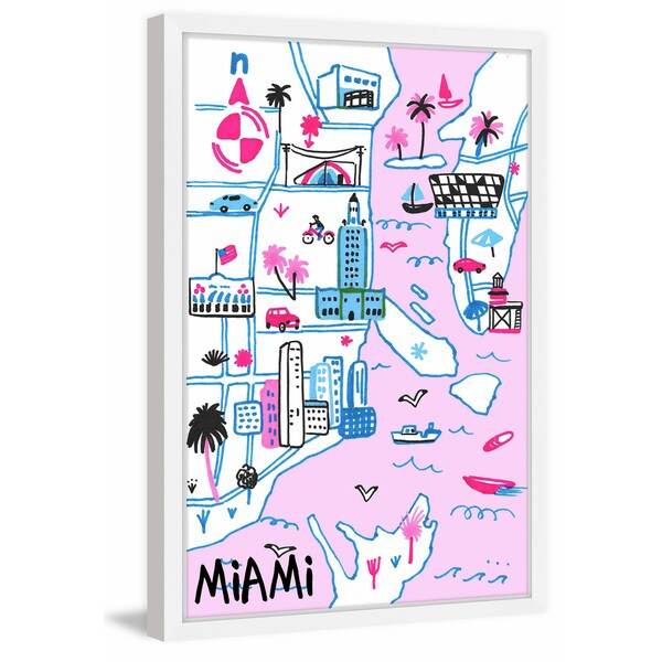 'Miami's Hot Spots' Framed Painting Print 25454977