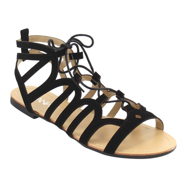 ANNA IE58 Women's Lace Up Gladiator Strappy Backless Flat Sandal 25461952