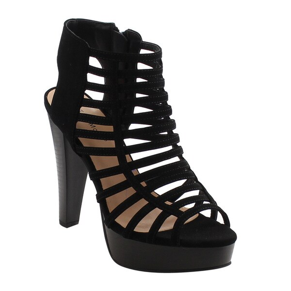 Top Moda EH44 Women's Strappy Caged Gladiator Zipper Block Ankle Booties Heels 25462335