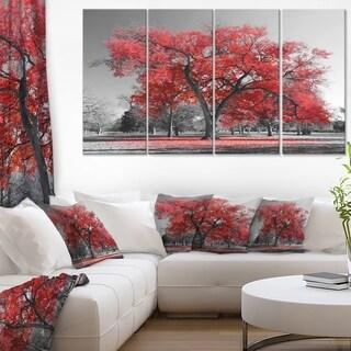 Designart 'Big Red Tree on Foggy Day' Landscape Wall Artwork on Canvas