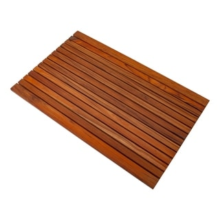 "Nordic Style Oiled Teak Shower Mat 31.4"" x 19.6"" Wide End Slat"