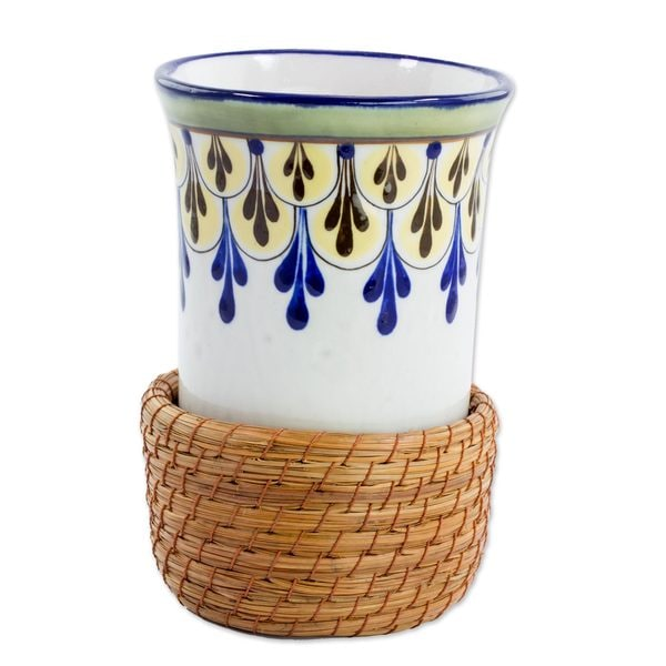 Ceramic and Pine Needle Cup With Cup Holder, 'Country Beverage' (Guatemala) 25515317