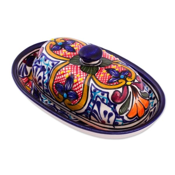 Ceramic Butter Dish, 'Floral Joy' (Mexico) 25536920