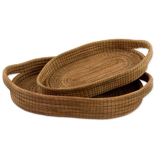 Pair of Pine Needle Baskets, 'Natural Details' (Guatemala)
