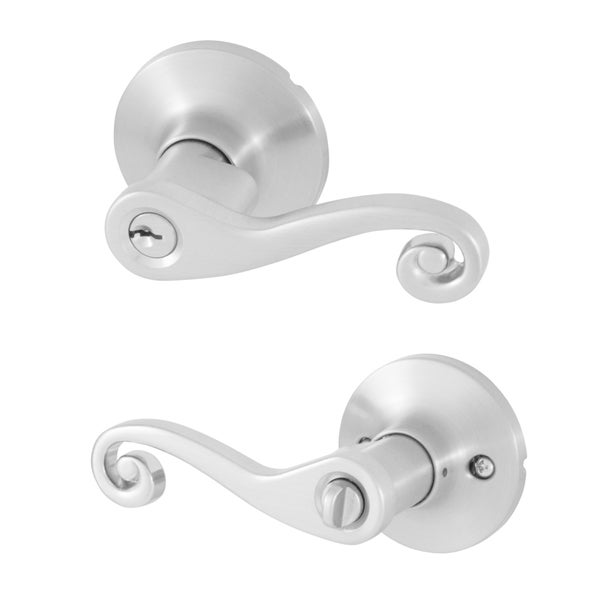 Honeywell Satin Nickel Scroll Entry Lever 25574759