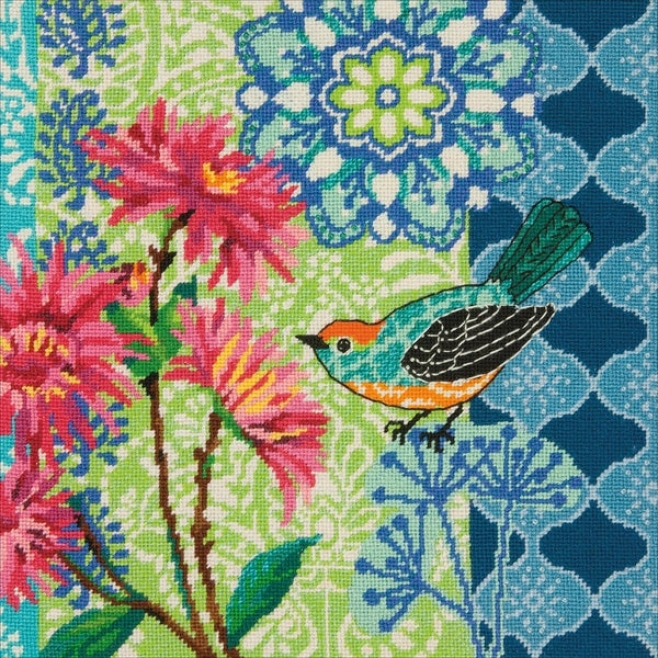 "Blue Floral Needlepoint Kit-14""X14"" Stitched In Wool 25577397"