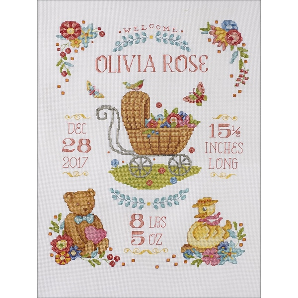 "Sweet Baby Birth Record Counted Cross Stitch Kit-10.5""X13.5"" 14 Count 25577700"