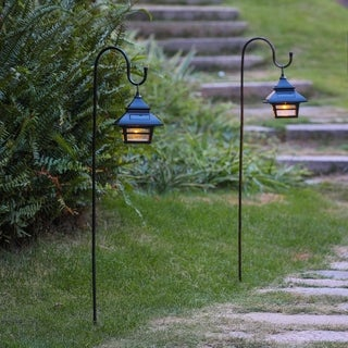 Set of 2 Black Solar Plastic Lanterns with Metal Shepherd Hooks