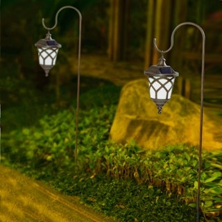 Set of 2 Brown/White Solar Plastic Lanterns with Metal Shepherd Hooks