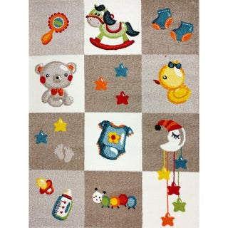 KC CUBS Nursery Bedtime Teddy Bear Boy and Girl Bedroom Modern Decor Area Rug For Kids and Children