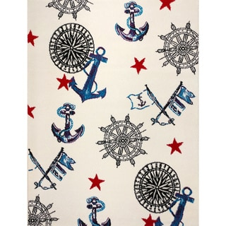 KC CUBS Nautical Sailor Boy and Girl Bedroom Modern Decor Area Rug and Carpet Collection For Kids and Children