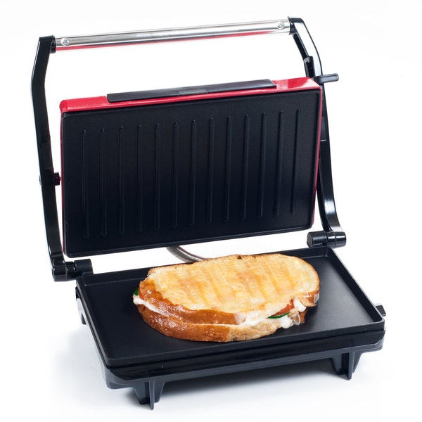 Panini Press Indoor Grill and Gourmet Sandwich Maker With Nonstick Plates (Red) by Chef Buddy 25582465