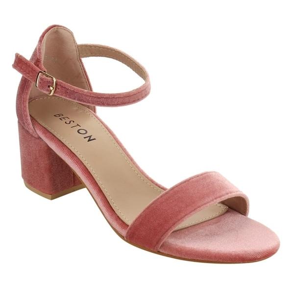 Beston FH23 Women's Single Band Wrapped Chunky Block Heel Dress Sandals 25603557