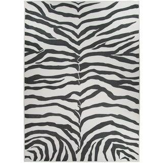 RUGGABLE Washable Stain Resistant Pet Area Rug Zebra Safari Black - 5' x 7'