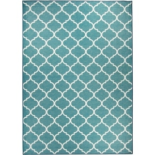 Ruggable Washable Stain Resistant Pet Area Rug Moroccan Trellis Teal - 5' x 7'