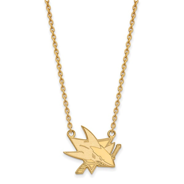 Sterling Silver with Gold Plating NHL LogoArt San Jose Sharks Large Pendant with Necklace 25650952