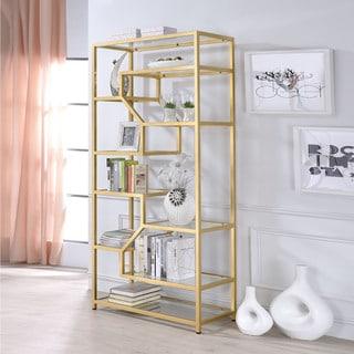 Acme Furniture Lecanga Clear Glass and Goldtone Metal Bookshelf